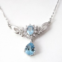 925 silver natural topaz stone necklace female luxury classic gift