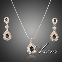 Palace Attractive 18K Rose Gold Plated Carved Crystal Drop Necklace and Earrings Set FREE SHIPPING!(Azora TG0072)