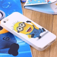 New Skin Design 3D Cute Cartoon Despicable Me Minion Soft Silicone Back Cover Case For iPhone 4 4th 4s 10PCS/lot +free shipping