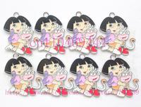 New Hot 100 Pcs Cartoon Cute Dora Girl Metal Charm Pendant Jewelry Accessories DIY Making