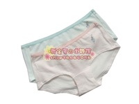 free shipping new arrival D7018 stripe mid waist 100% cotton breathable young girl briefs d6042 6043 6044 single-bra