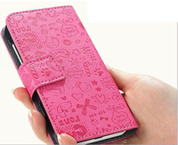 PU leather case for iphone 4 4s Original New arrival FASHION logo , Flip Thin Design, Free Screen Protecter
