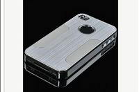 1PC Silver Luxury Steel Chrome Deluxe Case Cover Skin For Apple iPhone 4 4S,WK