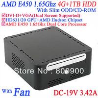 Free shipping small pcs with DVI-D 19VDC Slim ODD CD-ROM 4G RAM 1TB HDD AMD APU E450 1.65GHz Radeon HD6310 core windows or linux