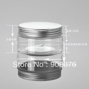 Best selling! 100 ml transparent aluminum cover cream refillable bottle cosmetic storage jar 5pcs/lot Free shipping