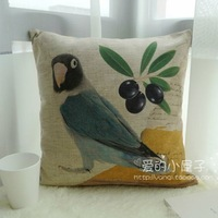 Free shipping American retro sofa cushion covers hand-painted flowers and birds rely pillowcase linen pillow cover cushion cover