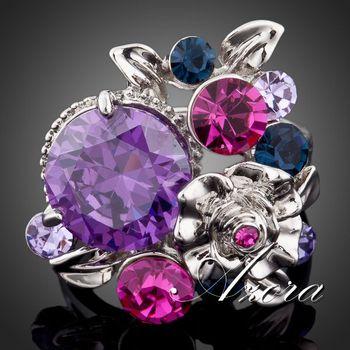 Unique Design Platinum Plated Multicolor SWA ELEMENTS Austrian Crystal Flower Ring ...