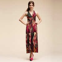 Womens deep v-neck floral print beach dress red