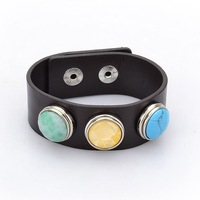 NBD012G(Min.Order $15) High Quality 2013 Jewelry Noosa DIY Bracelets for Men & Women Real Leather Bracelet With Three Charms
