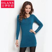 Olans spring and autumn women's long design o-neck long-sleeve sweater female slim knitted basic shirt