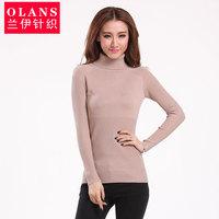 Olans women's slim medium-long basic turtleneck knitted sweater shirt