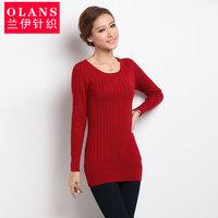 Olans autumn vintage women's slim medium-long o-neck knitted basic shirt thick wool