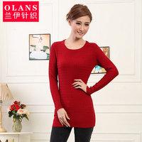 Olans women's long design o-neck long-sleeve sweater female slim knitted basic shirt