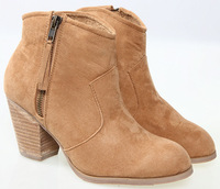 Free shipping Brand new Women thick Low heel Zip women Ankle boots/Camel Comfortable women dress boots cause boots Size 38-40