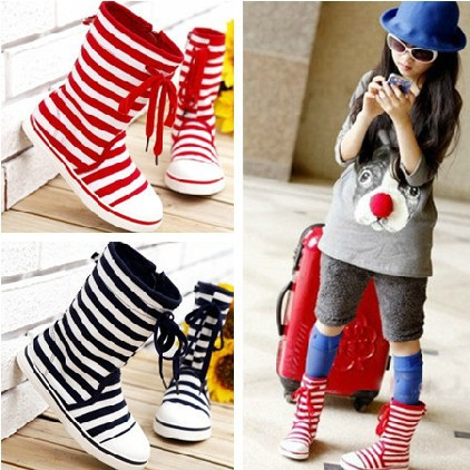 2013 Hot Selling! Stripe Pattern Red & Deep Blue Velcro Design Shoes ...