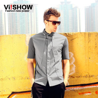 Viishow male summer short-sleeve shirt summer fashion slim stand collar shirt casual top
