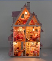 "Free shipping 3D LED light 21"" DIY wooden dream dollhouse 6rooms&furnitures life of luxury villa  doll house best gift"
