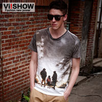 Viishow summer short-sleeve T-shirt male slim print short t male t cotton o-neck fashion t