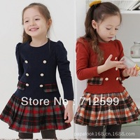 Free Shipping British style kids tartan dress 0906 001