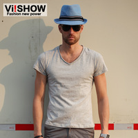 Viishow T-shirt male short-sleeve summer male solid color V-neck short t slim 100% cotton casual male t new arrival fashion
