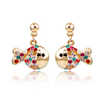 Jewelry multicolour fish inlaying stud earring women's accessories day gift girlfriend gifts