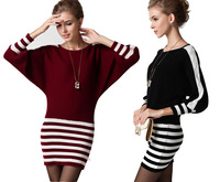 2013 autumn slit neckline batwing sleeve sweater loose pullover medium-long cashmere sweater outerwear