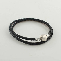Long Black Leather Starter DIY Bracelet Jewelry with 100% 925 Sterling Silver Clasp Clip, Suitable for Pandora Jewelry PL001-L