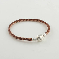 European Dual Brown Color Leather Bracelet with 925 Sterling Silver Clasp Clips, Compatible With Pandora Thread Bracelet PL006