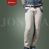 Joneaa True Brand Jeans Original design Denim vintage bleach two-color plus size low-waist male straight denim trousers