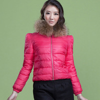 2012 winter fur collar thickening thermal wadded jacket female short design cotton-padded jacket 8155