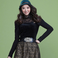 2012 turtleneck leopard print gauze patchwork plus velvet basic shirt female 8136 long-sleeve sweater
