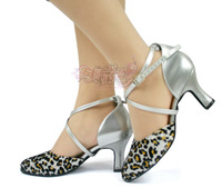 Betty 103 female the modern dance shoes silver leopard print square female dance shoes dance shoes ballroom dancing shoes