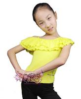 4120 child adult Latin dance top dance clothes dance top double layer ruffle spaghetti strap