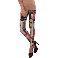 New Arrival Winter Warm Leggings For Women High Waist Velvet Punk Printed Patterned Velvet Legging Tights Sweatpants
