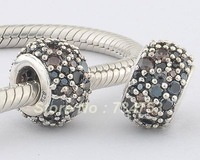 100% 925 Sterling Silver Slider Spacer Charm Beads, DIY Jewelry Accessories Fit for Pandora Charm Bracelets DIY Making XS 127A