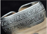 Exquisite Tibet Silver Carved Men's Cuff Bracelet  a10