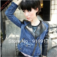 2013 New Promotional Autumn Brand Female Spliced Wash Jeans Stitching Zipper Coat Jacket Wholesale coating
