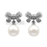 Topearl Jewelry 7.5-8mm Round White Freshwater Cultured Pearls Sterling Silver Stud Earrings SE185