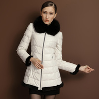 2013 genuine leather down coat female sheepskin genuine leather clothing slim medium-long lj1680