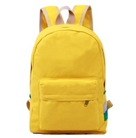 Double-shoulder canvas backpack young girl boy unisex sports bag size student school bag dark green yellow purple