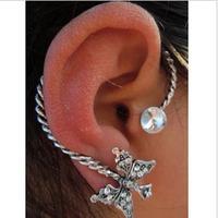 Free shipping Women Creative Rhinestone  Butterfly Punk Ear Cuff  Stud Earrings Wholesale 20pcs/lot