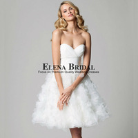 Free Shipping Lovely Sweetheart Neck Strapless Organza with Crystals Above Knee Ball Gown Wedding Dress Zipper Short Bridal Gown