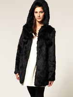 Fashion popular fur coat black white