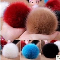 Faux hair bulb cell phone pendant plush ball keychain accessories bags multi color ball hair ball