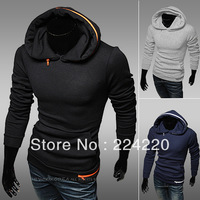 Free Shipping 2013 Autumn new Men's pullover hooded sweater knitted sweater coat high quality multi-color zipper Men