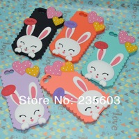 10pcs/lot Free Shipping 3D Cute Cartoon Hello Love Rabbit Silicone Rubber Soft Case Back Cover For Iphone 4 4S 5