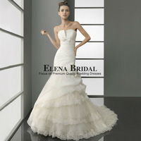 Free Shipping Beautiful Strapless Organza Lace with bow Tiered Court Train Mermaid Wedding Dress Custom Made Zipper Bridal Gown