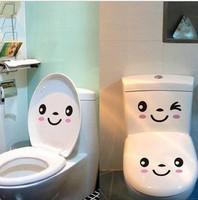 Min. order is $15 (mix order) Gustless 2 smiley toilet stickers  waterproof bathroom tile  wall stickers