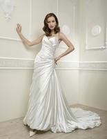A-Line Sweatheart Neck  Floor-Length Satin Wedding Dress With Beaded Cross Back Straps HWGJWD51