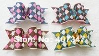 Free Shipping!!! MOQ 100pcs can mix colors,cute silk design ribbon,pet barrettes pet hairclip